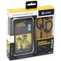 Omega Sporta komplekts: stereo austiņas ar mikrofonu + regulējama aproce viedtālrunim PM1070B (melns)