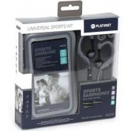 Omega Sporta komplekts: stereo austiņas ar mikrofonu + regulējama aproce viedtālrunim PM1070GR (pelēks)