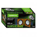 Omega Surveyor Multimedia Speakers USB 2.0 6W skaļruņi OG01O (melni / oranži)