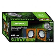 Omega Surveyor Multimedia Speakers USB 2.0 6W skaļruņi OG01O (melni / oranži)