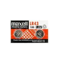 Maxell LR43 / 186 / KA43 1.5V 55mAh 0% Hg Alkaline baterijas (ražots Japānā) 2 gab. (realizācijas termiņš 12.2019.)
