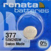 Renata 377 / 376 SR626SW Low Drain 1.55V Silver 0% Hg watch battery. Made in Switzerland