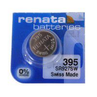 Renata 395 SR927SW Low Drain 1.55V Silver 0% Hg watch battery. Made in Switzerland (Expiration date: 04.2020.)