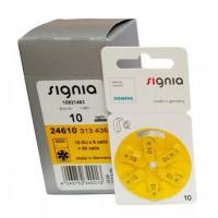 10 pack komplekts: Siemens Signia 10 / PR70 1.45V 100mAh 0%Hg hearing aid (zinc-air) baterijas dzirdes aparātiem. Ražotas Vācijā (09.2019.)