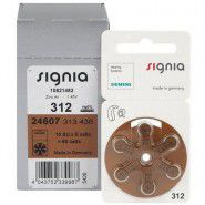 10x set: Siemens Signia 312 / PR41 1.45V 180mAh 0%Hg hearing aid (zinc-air) batteries. Made in Germany (Expiration date: 2021)
