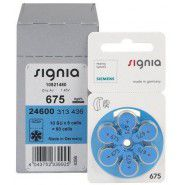 10x set: Siemens Signia 675 / PR44 1.45V 650mAh 0%Hg hearing aid (zinc-air) batteries. Made in Germany