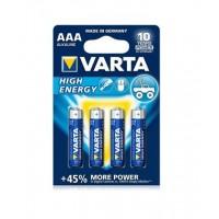 Varta High Energy AAA / LR03 / MICRO / MN2400 1.5V 1250mAh Alkaline baterija (ražots Vācijā) 4 gab.