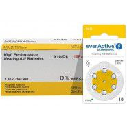10x set: everActive Ultrasonic 10 / PR70 1.45V 0%Hg Zinc Air Hearing Aid batteries