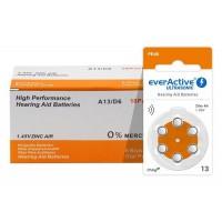 10 pack komplekts: everActive Ultrasonic 13 / PR48 1.45V 0%Hg Zinc Air baterijas dzirdes aparātiem (Hearing Aid)