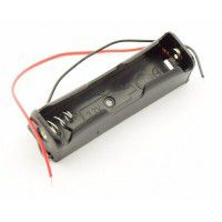 1x 18650 baterijas / akumulatora turētājs ar pielodētiem vadiem 150mm (holder with wires / leads)