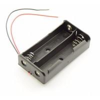 2x 18650 baterijas / akumulatora turētājs ar pielodētiem vadiem 150mm (holder with wires / leads)