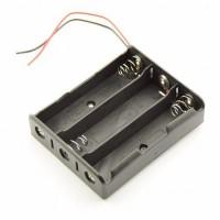3x 18650 baterijas / akumulatora turētājs ar pielodētiem vadiem 150mm (holder with wires / leads)