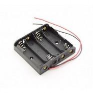 4x AA baterijas / akumulatora turētājs ar pielodētiem vadiem 150mm (holder with wires / leads)