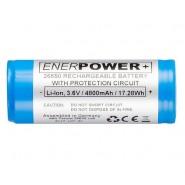 Enerpower 26650 4800mAh 12A 3.7V Li-Ion akumulators ar PCB aizsardzību (Button Top)