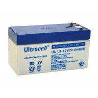 Ultracell UL1.3-12 (12V 1.3Ah 20HR) VRLA (Valve Regulated Lead-Acid) Svina akumulators ar Oxygen recombination tehnoloģiju