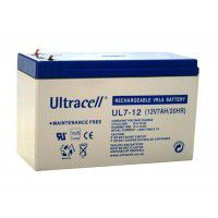 Ultracell UL7-12 (12V 7Ah/7.2Ah 20HR) VRLA (Valve Regulated Lead-Acid) lead battery with Oxygen recombination technology