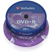 Verbatim DVD+R 4.7/120min GB 16x Matt Silver Azo Surface 25 gab. cake box