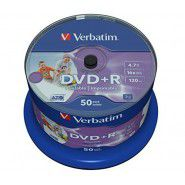 Verbatim DVD+R 4.7/120min GB 16x Printable No ID Azo Surface 50 gab. cake box
