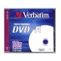 Verbatim DVD-R 4.7GB 120min 16x Printable Advanced Azo Surface 1 gab. oriģinālā 10.2mm CD kastītē