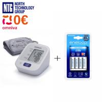 Omron M2 HEM-7121-E automatic arm blood pressure monitor + Panasonic BQ-CC51E charger + 4x AA Panasonic Eneloop 1.2V NiMH 1900mAh 2100x BK-3MCCE rechargeable batteries