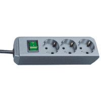 Brennenstuhl Eco-Line 3x extension socket with switch 1.5m, silver grey H05VV-F 3G1,5 1152340015