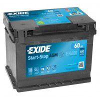 Exide Start-Stop AGM (Absorbed Glass Mat) AK-EK600 12V 60Ah 680A Deep-cycle battery with Deep Discharge for marine, solar, UPS, sail boat, motorboat, motorhome