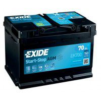 Exide Start-Stop AGM (Absorbed Glass Mat) AK-EK700 12V 70Ah 760A Deep-cycle battery with Deep Discharge for marine, solar, UPS, sail boat, motorboat, motorhome