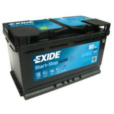 Exide Start-Stop AGM (Absorbed Glass Mat) AK-EK800 12V 80Ah 800A Deep-cycle battery with Deep Discharge for marine, solar, UPS, sail boat, motorboat, motorhome