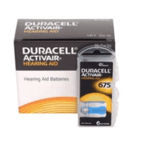 10x set: Duracell Activair 675 PR44 1.4V Hearing Aid Zinc-Air batteries, made in Germany, 60 pc.