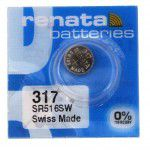 Renata 317 SR516SW Low Drain 1.55V Silver 0% Hg watch battery. Made in Switzerland (Expiry date: 12/2019)