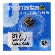 Renata 317 SR516SW 1.55V Silver 0% Hg watch pulksteņu baterija. Ražots Šveicē