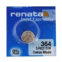 Renata 364 SR621SW Low Drain 1.55V Silver 0% Hg watch pulksteņu baterija. Ražots Šveicē (2018.g.)