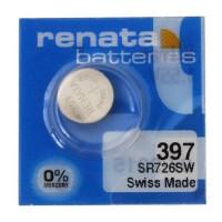 Renata 397 SR726SW Low Drain 1.55V Silver 0% Hg watch pulksteņu baterija. Ražots Šveicē (realizācijas termiņš 2018. gads)