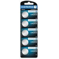 everActive CR2032 / DL2032/ ECR2032 3V 210mAh (min) Litija baterija 5 gab.
