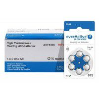 10x set: everActive Ultrasonic 675 / PR44 1.45V 0%Hg Zinc Air Hearing Aid batteries