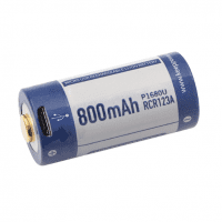 KeepPower 16340 (rechargeable CR123) 800mAh 2A 3.7V Li-ion rechargeable battery with protection (PCB) (Button Top) with built-in micro USB charging port