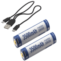 2x KeepPower P1835U 18650 3500mAh 8A 3.7V Li-ion rechargeable battery with protection (PCB) (Button Top) with built-in micro USB charging port + micro USB cable