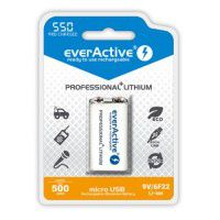1x EverActive Professional+ Lithium 9V (6HR61, 6F22) 500mAh Li-ion rechargeable battery with micro USB socket, 1 pc., blister