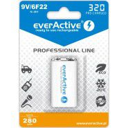 1x EverActive Professional Line 9V (6HR61, 6F22) 320mAh Low Self Discharge (LSD) Ni-MH rechargeable battery, 1 pc., blister