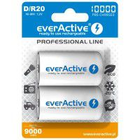2x everActive Professional Line D R20 10000mAh 1.2V Low Self Discharge (LSD) Ni-MH rechargeable batteries, 2 pc., blister