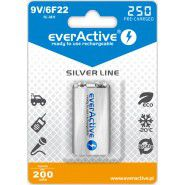 1x everActive Silver Line 9V (6HR61, 6F22) 250mAh Low Self Discharge (LSD) Ni-MH rechargeable battery, 1 pc., blister