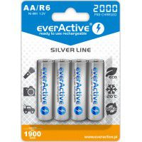 4x everActive Silver Line AA R6 2000mAh 1.2V Low Self Discharge (LSD) Ni-MH rechargeable batteries, 4 pc., blister