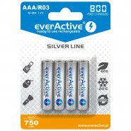 4x everActive Silver Line AAA R03 800mAh 1.2V Low Self Discharge (LSD) Ni-MH rechargeable batteries, 4 pc., blister