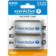 2x everActive Silver Line D R20 5500mAh 1.2V Low Self Discharge (LSD) Ni-MH rechargeable batteries, 2 pc., blister