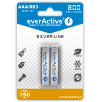 2x everActive Silver Line AAA R03 800mAh 1.2V Low Self Discharge (LSD) Ni-MH rechargeable batteries, 2 pc., blister
