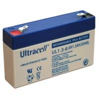 Ultracell UL1.3-6 (6V 1.3Ah 20HR) 4.8mm VRLA (Valve Regulated Lead-Acid) lead–acid battery with Oxygen recombination technology