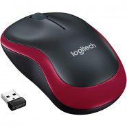 Logitech M185 Wireless Mouse Black and Red