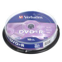 Verbatim DVD+R 4.7/120min GB 16x Matt Silver Azo Surface 10 pc. cake box