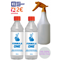 2x Formula One 80%, 500ml Professional Universal Hand Sanitizer and Surface Disinfectant with Glycerine, 80% alcohol, 2x0.5L, 1L., 1000ml spray