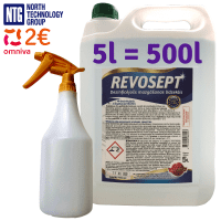 Revosept Professional Surface Disinfectant, up to 500L disinfectant, concentrate 5L 1:100 + 1000ml spray bottle